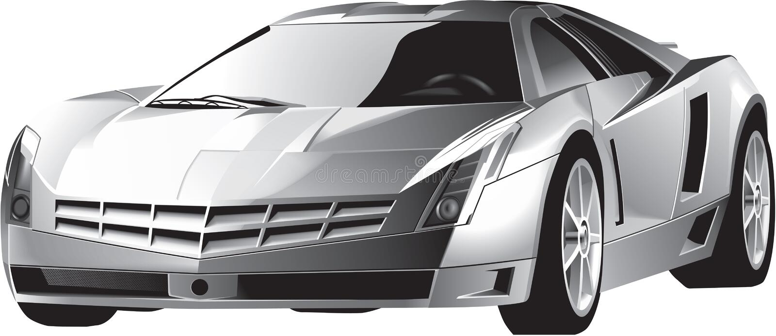 Luxury fast driving sports car. Luxury grey steel modern fast driving sports car with highlight on the front window, xenon headlights. Lifelike detailed vector vector illustration