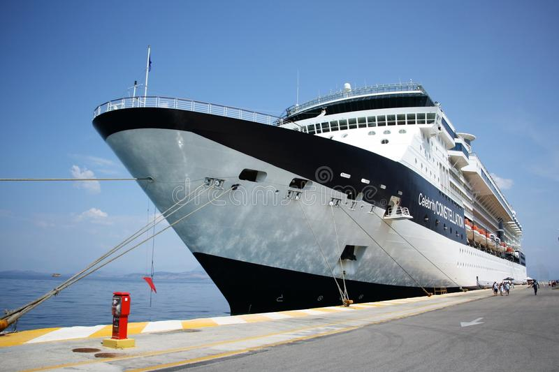 Luxury ferry boat in the port stock images