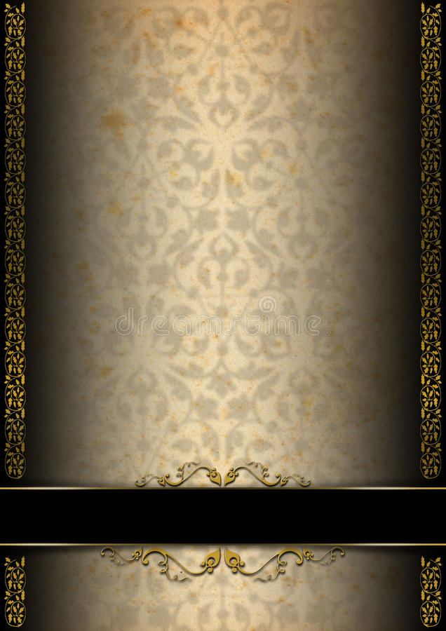 luxury floral black  brown and gold background stock
