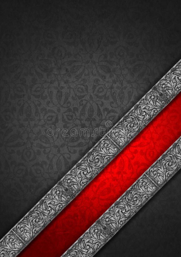 Download Luxury Floral Silver And Red Velvet Background Stock Illustration - Image: 37799876
