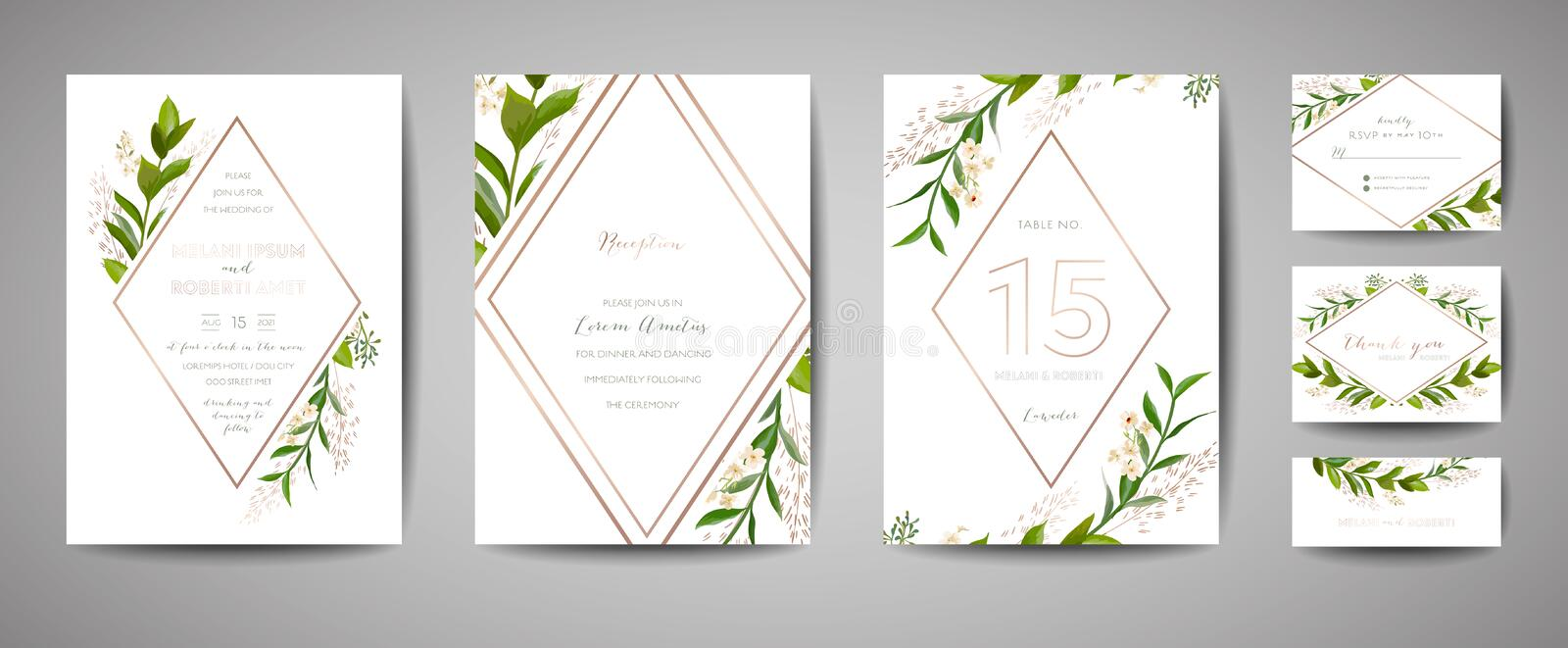 Luxury Flower Vintage Wedding Save the Date, Invitation Floral Cards Collection with Gold Foil Frame. trendy cover, graphic poster royalty free illustration
