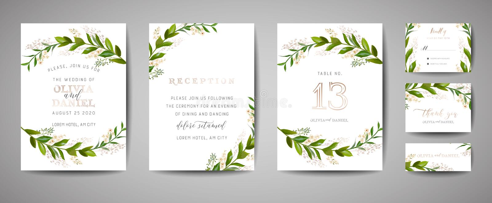 Luxury Flower Vintage Wedding Save the Date, Invitation Floral Cards Collection with Gold Foil Frame. Vector trendy cover, graphic stock illustration
