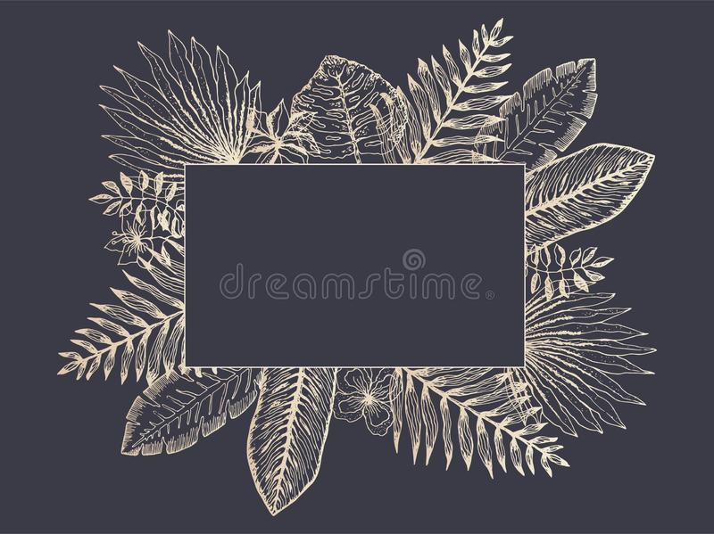 Luxury frame of golden tropical leaves on black vector illustration
