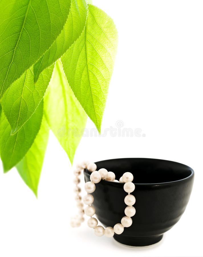 Luxury freshness. Leaves and pearls in bowl over the white background stock images