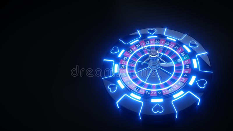 Luxury Gambling Roulette Wheel and Chips 3D Futuristic - 3D Illustration. Casino Gambling Futuristic Concept, Roulette Wheel  and Poker Chips 3D Illustration on vector illustration
