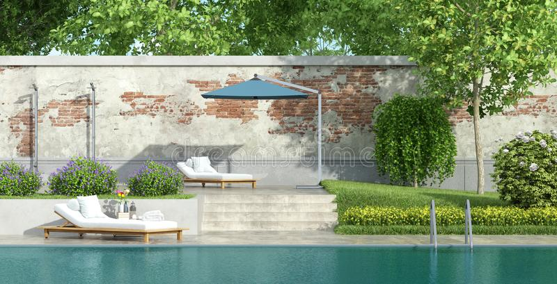 Luxury garden with pool royalty free illustration