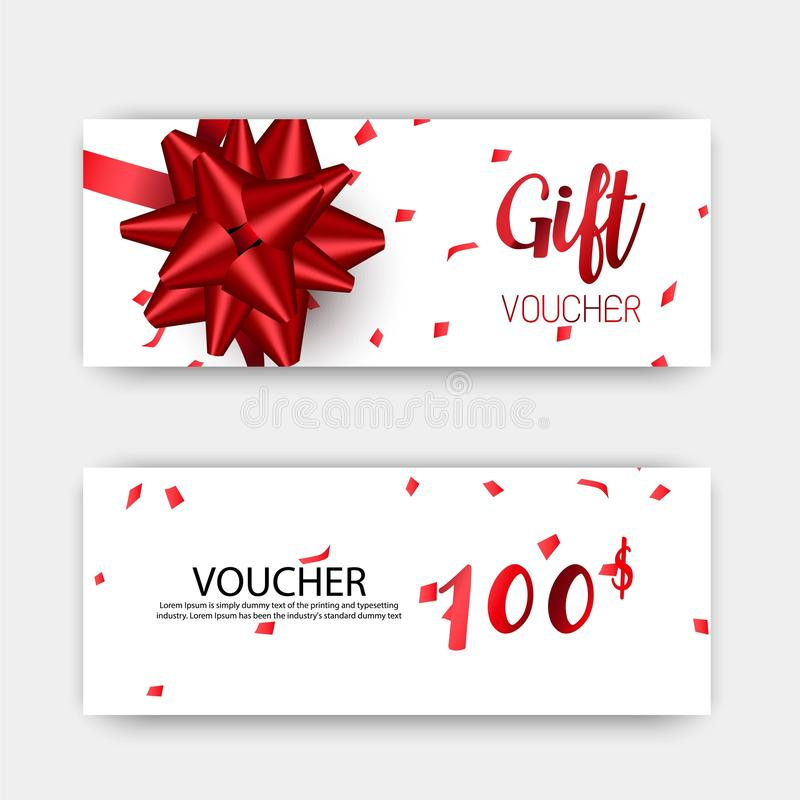 Free Luxury Gift Vouchers Set. Red And Golden Color Design, On White Background. Royalty Free Stock Image - 144666686