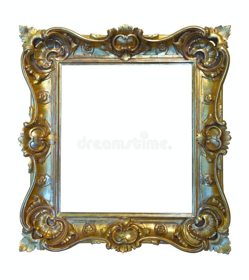 Luxury gilded frame. Isolated over white royalty free stock photo