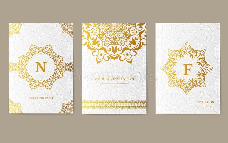 Luxury Gold artistic flyer 3x4 with unique decoration. Invitation card for birthday, party or wedding. Traditional royalty free stock image