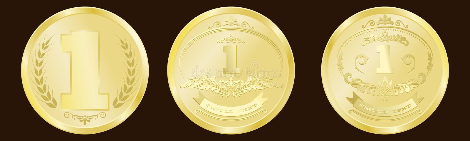 Luxury gold badges. And sports medals or premium quality product in vintage style, vector illustration stock illustration