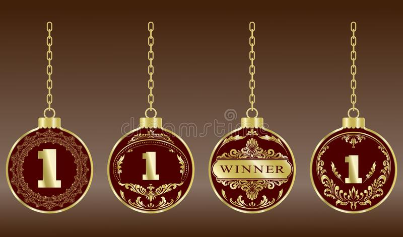 Luxury gold badges. And sports medals or premium quality product in vintage style, vector illustration vector illustration