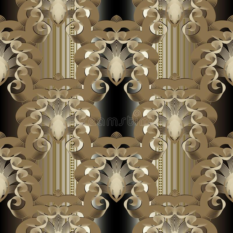 Luxury gold 3d Baroque vector seamless pattern. Repeat ornamental striped background. Ornate vintage golden flowers, leaves,. Stripes, borders, lines. Tiled stock illustration