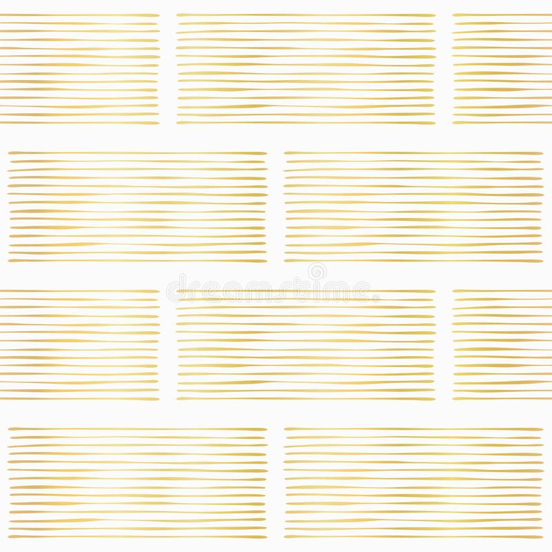 Luxury Gold Foil Geometric Stripes Vector Pattern Hand Drawn Abstract Lines. Background, Shiny Texture Illustration for Trendy Stationery, Elegant Wallpaper royalty free illustration