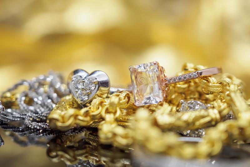 Luxury gold Jewelry diamond and pink topaz rings stock photos
