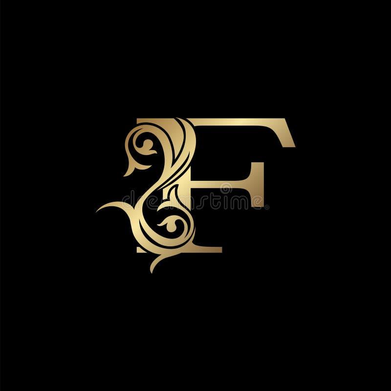 Free Luxury Gold Letter F Floral Leaf Logo Icon,  Classy Vintage Vector Design Concept For Emblem, Wedding Card Invitation Royalty Free Stock Image - 183574116