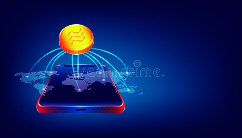 Luxury gold libra cryptocurrency coin symbol.  people use the big virtual blockchain around the world via beautiful smartphone. royalty free illustration