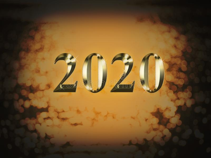 Luxury gold 2020 new year on gold bokeh background. Happy new year 2020 stock image