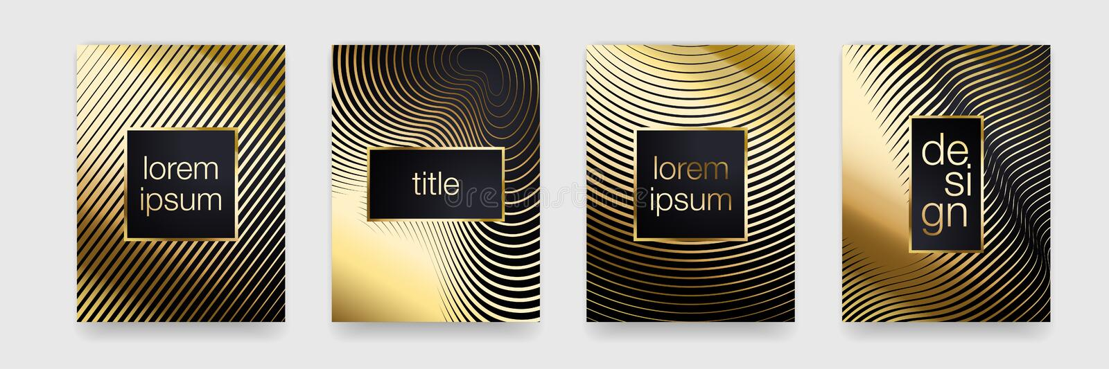 Luxury gold pattern background. Geometric golden line texture. Vector. Poster banner template set stock illustration