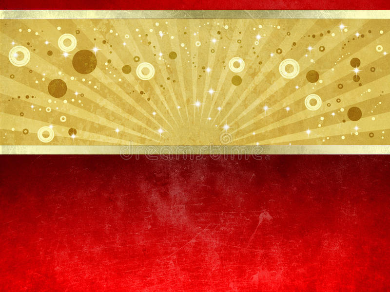 Luxury gold and red grunge background stock illustration