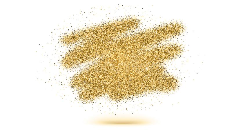 Luxury gold sparkle glitter brush strokes. Texture of dust isolated on white background. Golden explosion of particles vector illustration
