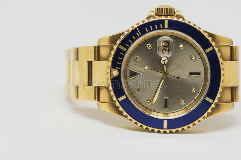 Luxury gold watch. Swiss made royalty free stock photography