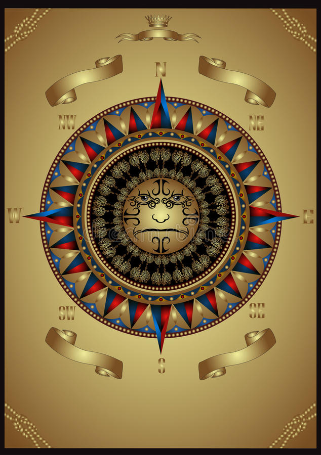 Luxury gold wind rose with head banner advertising royalty free illustration
