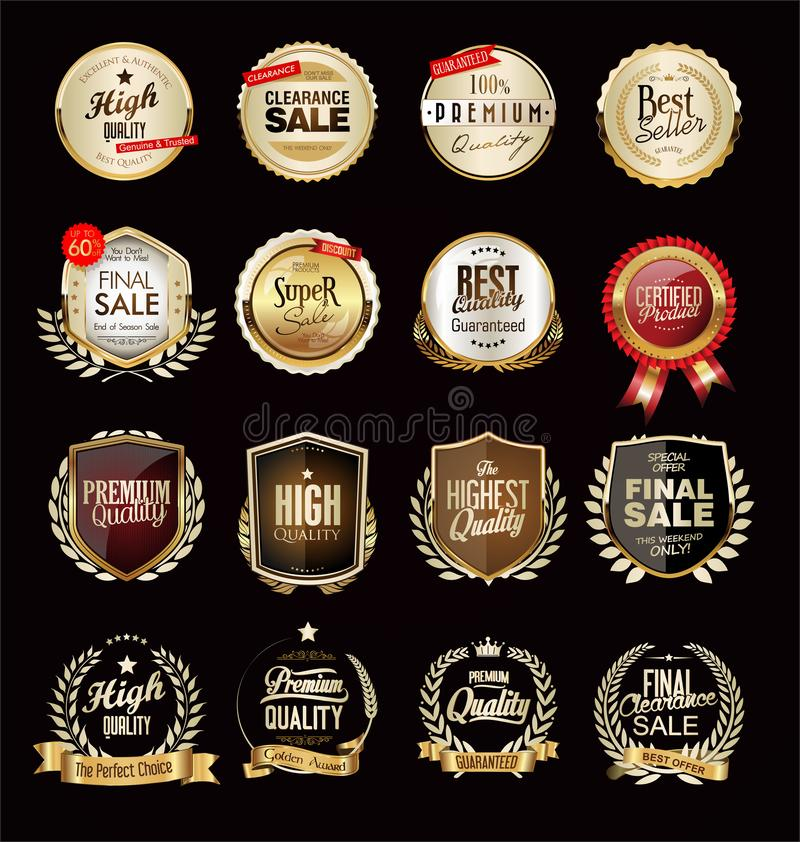 Luxury golden badges and labels collection. Luxury golden badges and labels set royalty free illustration
