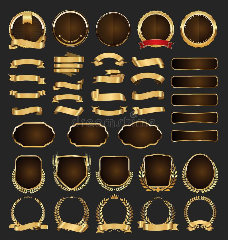 Luxury golden badges and labels collection. Luxury golden badges and labels set stock illustration