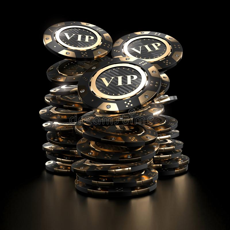 Luxury golden casino chips vector illustration