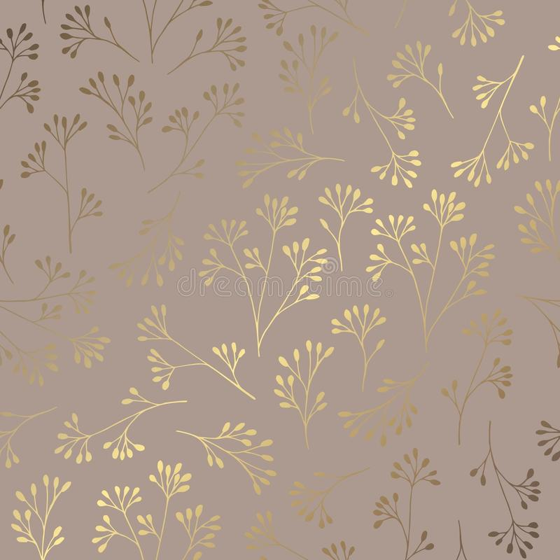 Luxury golden floral pattern on a brown background. Elegant decorative vector pattern vector illustration