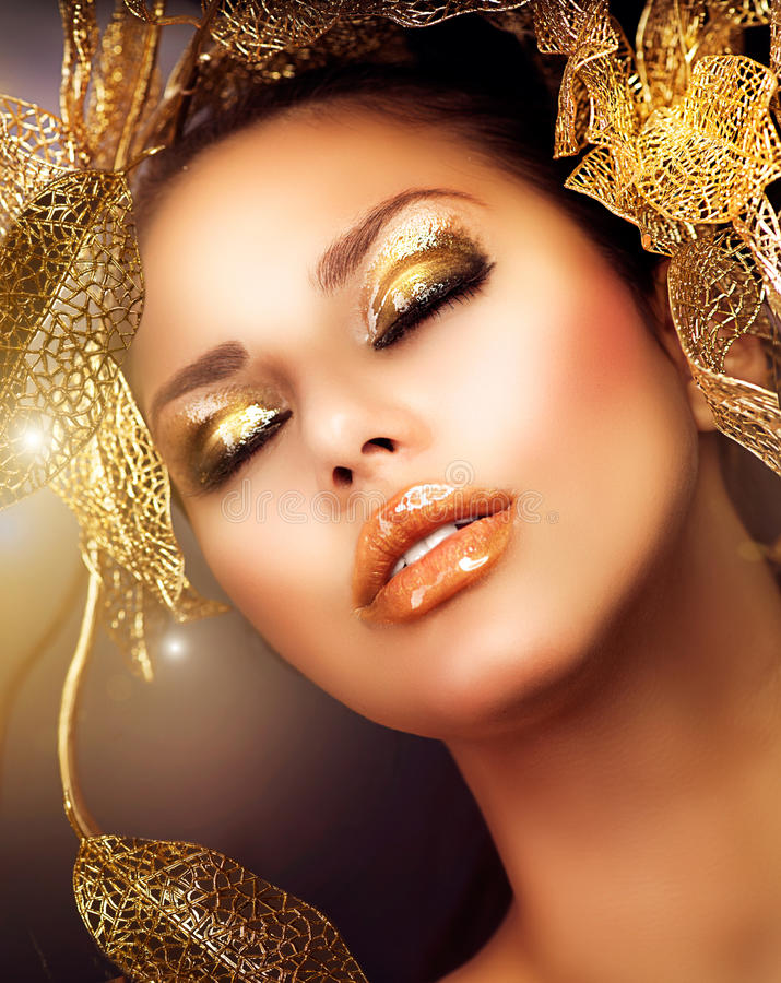 Download Luxury Golden Makeup stock photo. Image of black, facial - 27610036