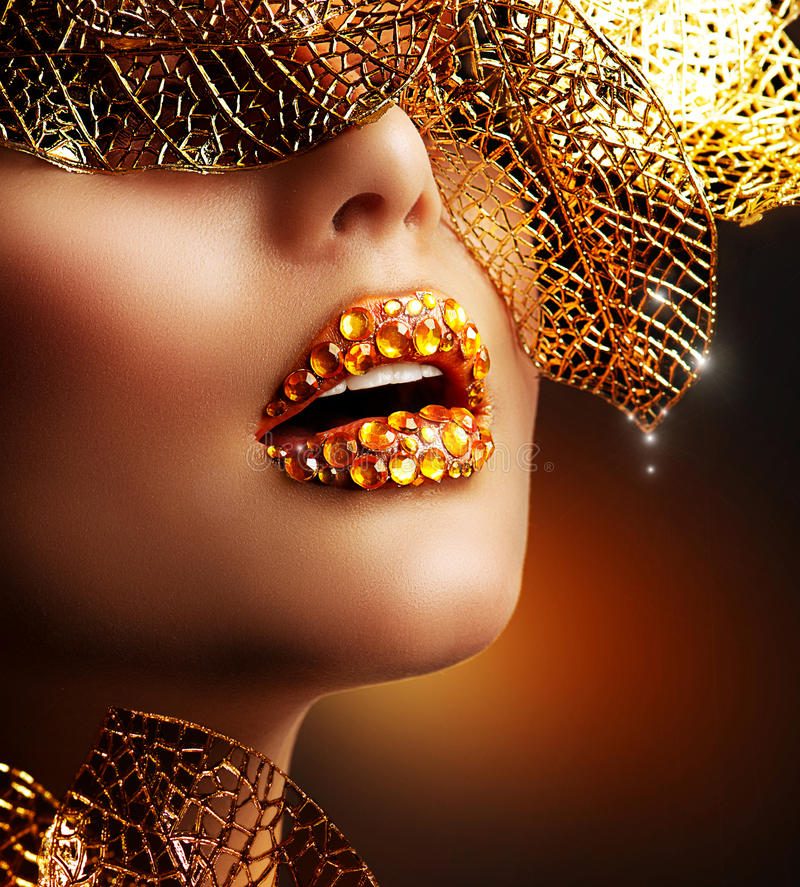 Luxury Golden Makeup. Beautiful Professional Holiday Make-up stock images