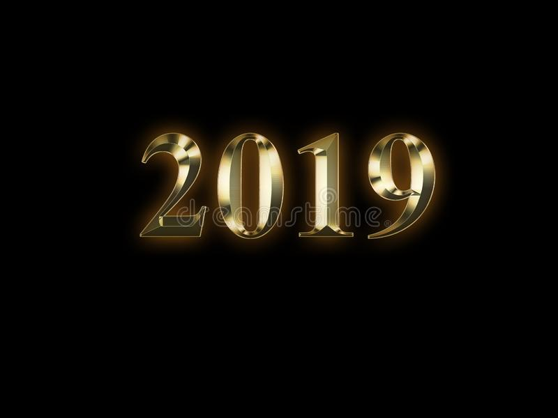 Luxury golden 2019 new year on black background. Happy new year 2019 stock image