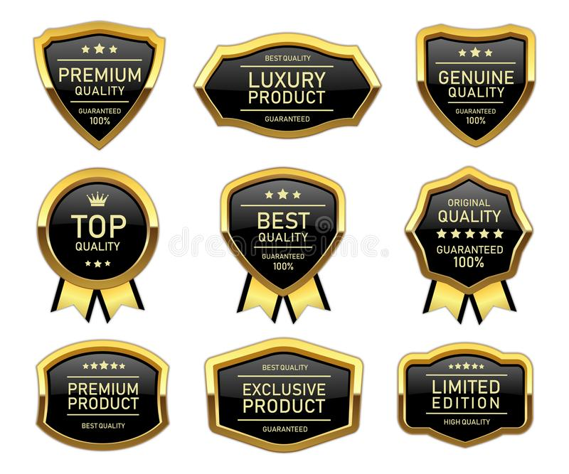 Luxury golden quality product label vector illustration