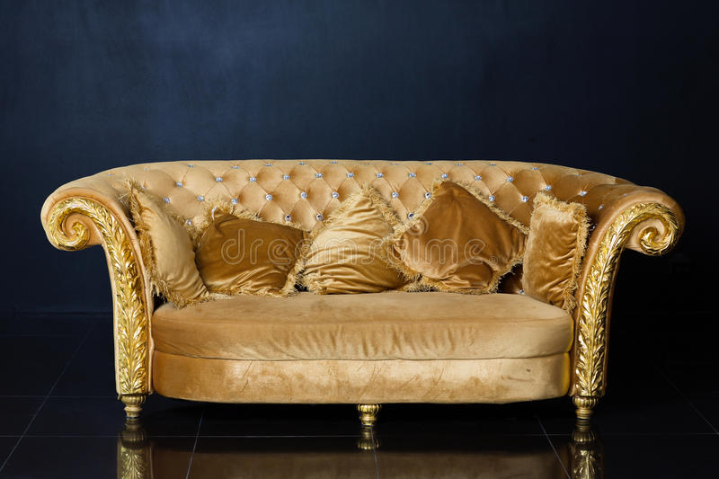 Elegant Download Luxury Golden Sofa On A Black Background Stock Photo   Image Of  Tiles, Sofa