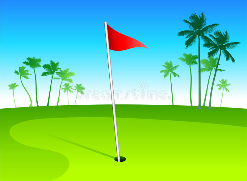 Download Luxury Golf Course With Palm Trees On Blue Sky Bac Stock Vector - Image: 11550657