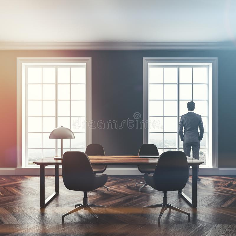 Luxury gray home office interior, man royalty free stock image