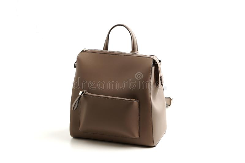 Luxury gray leather female bag backpack, isolated. White background sale object women expensive lady modern casual fashion black design classic vanity vogue royalty free stock photos