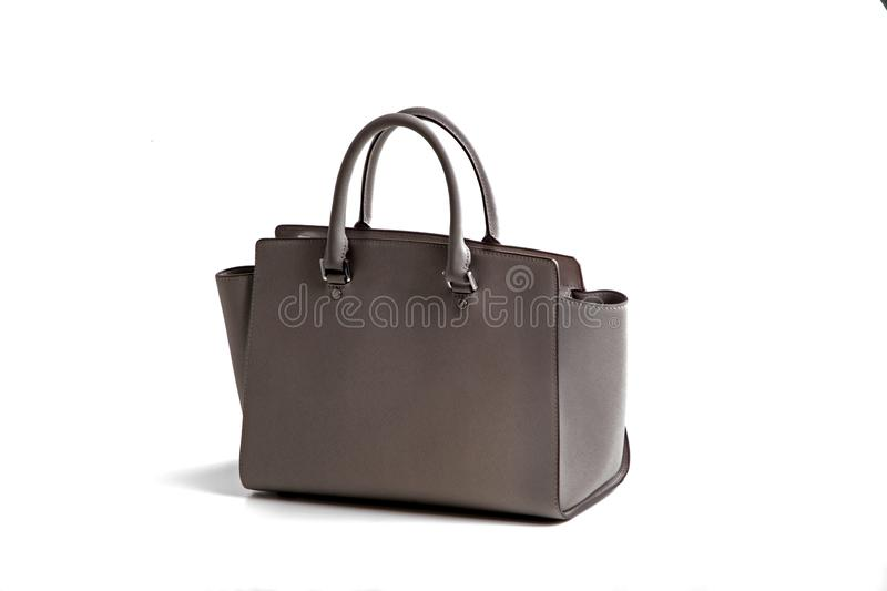 Luxury gray leather holding female fashion hand bag. Isolated background white sale object women expensive lady modern casual black design classic vanity vogue stock image