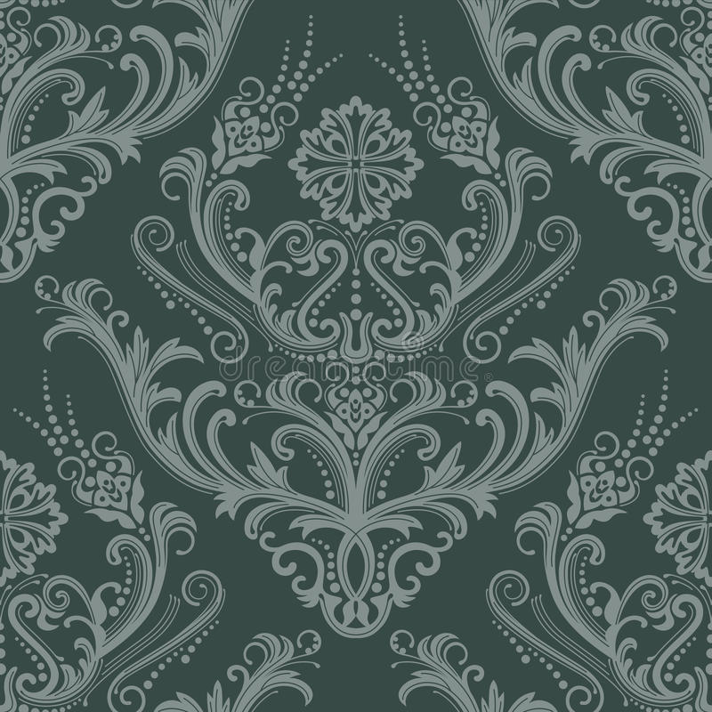 Luxury green floral wallpaper stock illustration