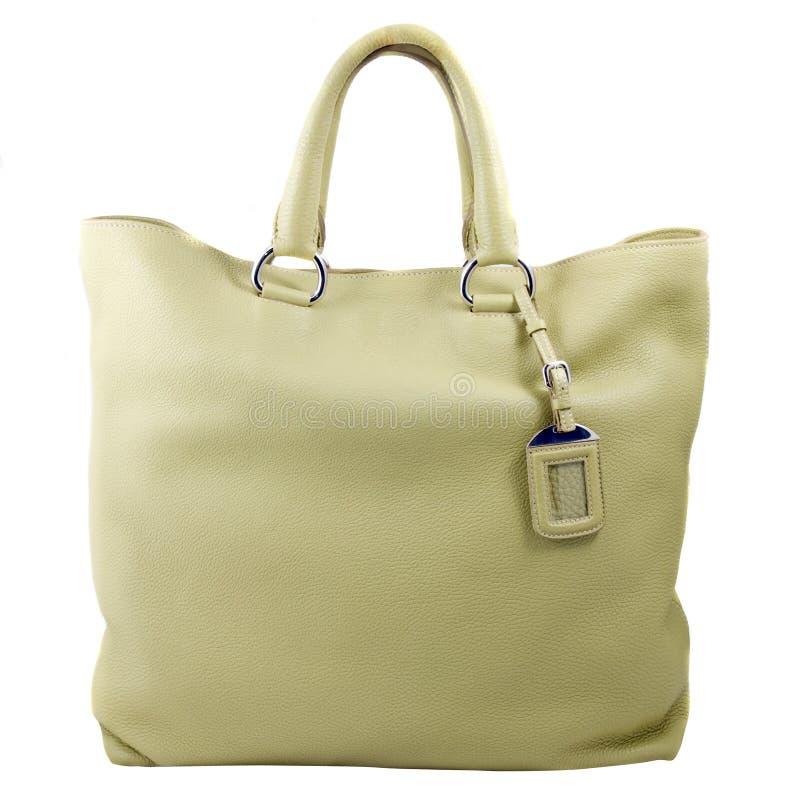 Luxury green leather female bag. Isolated on white stock image