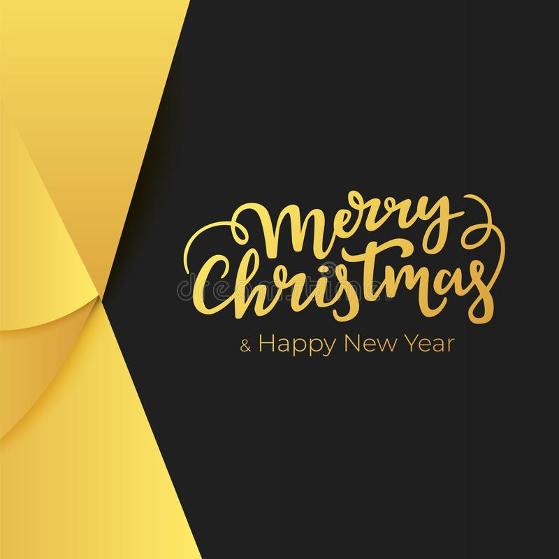 Luxury greeting card for winter holidays with lettering and abstract decorations of a gold foil on black paper background. Luxury greeting card for winter vector illustration