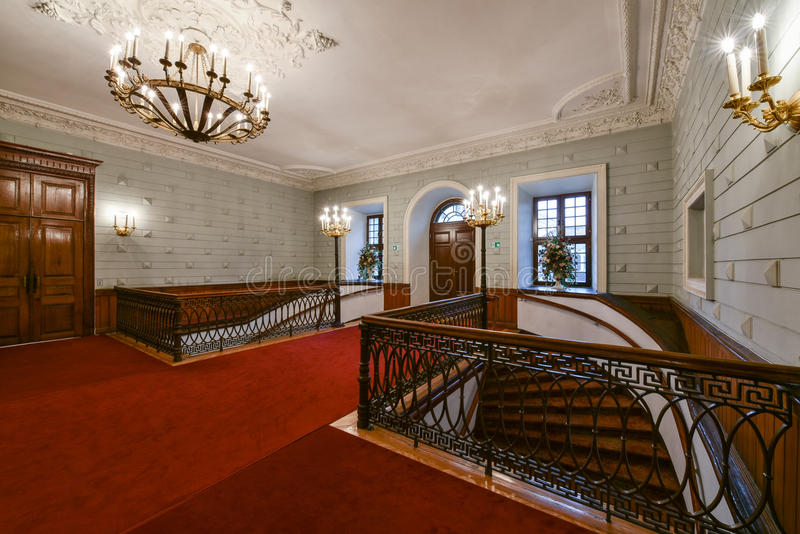 Luxury hall and staircase interior stock photography