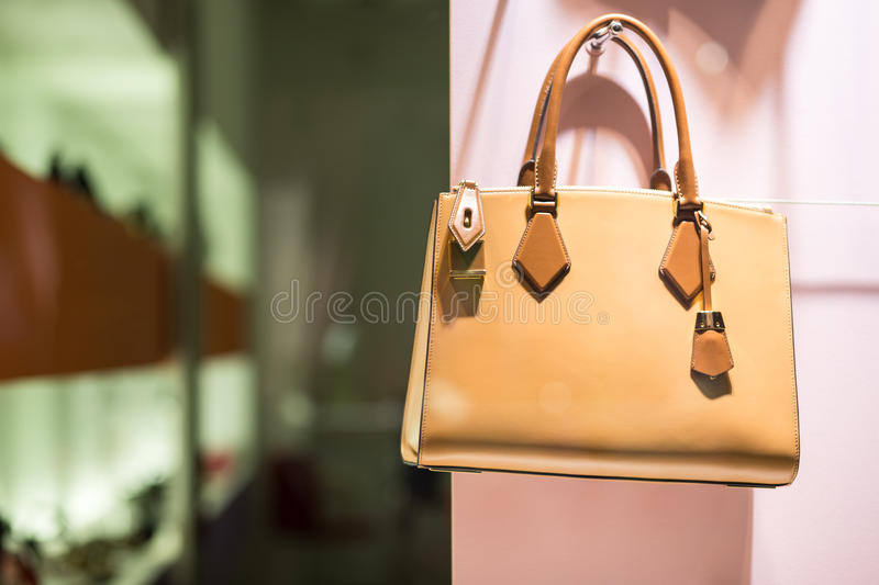Luxury handbag in store royalty free stock images