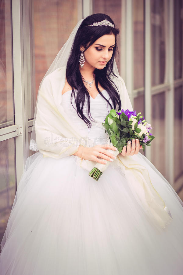 Luxury and happy bride in a city royalty free stock images