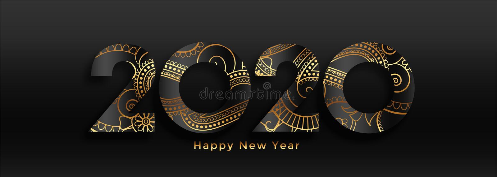 Luxury 2020 happy new year black and gold banner design stock illustration