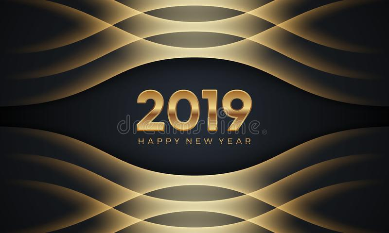 Happy New Year 2019. Creative luxury abstract vector illustration with golden numbers on dark background royalty free illustration