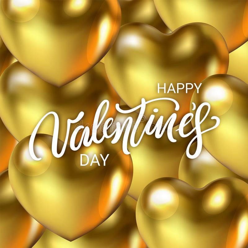 Luxury Happy Valentine`s Day card with 3d realistic golden Heart. Greeting text on festival backdrop. Happy Valentines Day lettering. Beautiful Valentine royalty free illustration