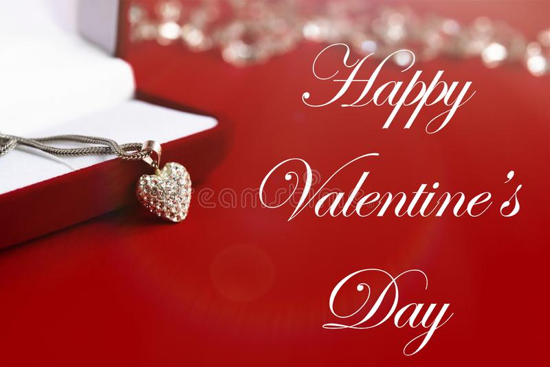 Luxury heart necklace, happy valentines day text, greeting card royalty free stock photos