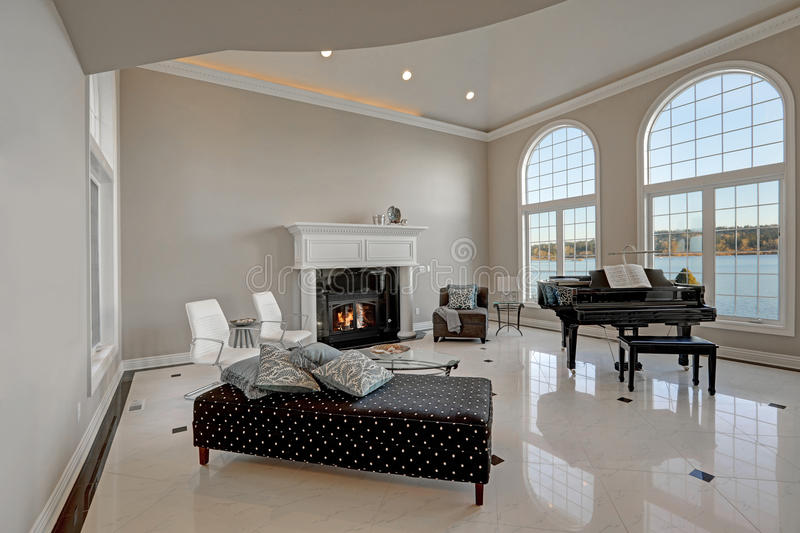 Luxury High Ceiling Living Room With Marble Floor Stock